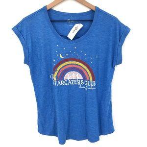 NEW Style&Co Cap-Sleeve graphic top T-Shirt Blue Stargazer club rainbow S womens